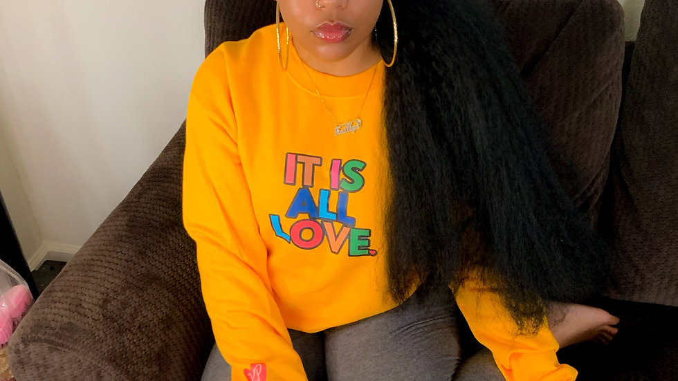 yellow IT IS ALL LOVE Crewneck