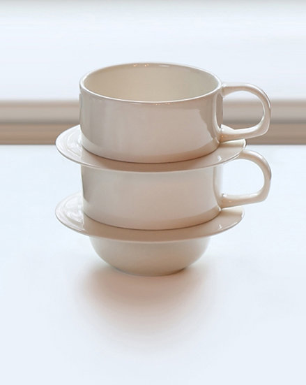 Stacking Tea Cup + Saucer (set of two)