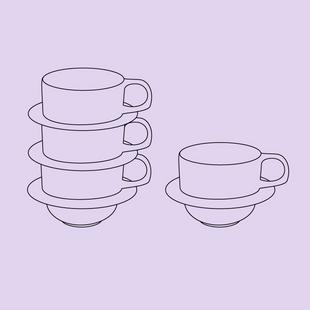 Stacking Tea Cup + Saucer