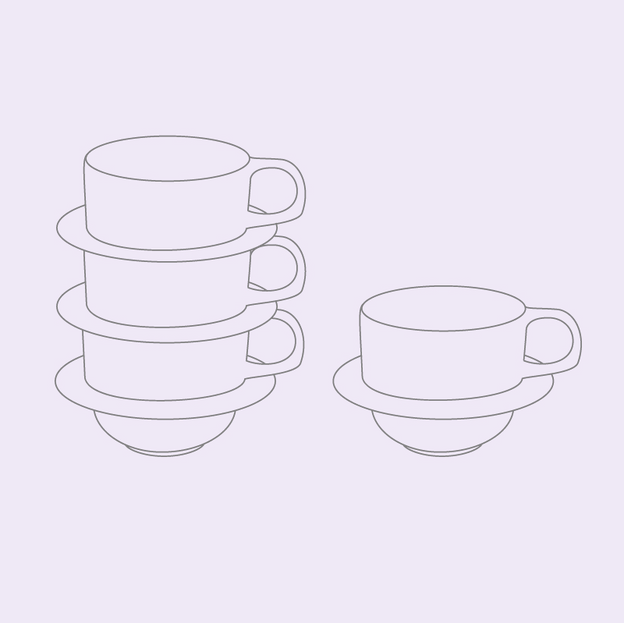 Stacking Tea Cup + Saucer