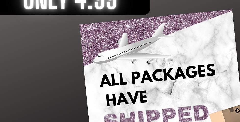 Package Shipped (Purple glitter)