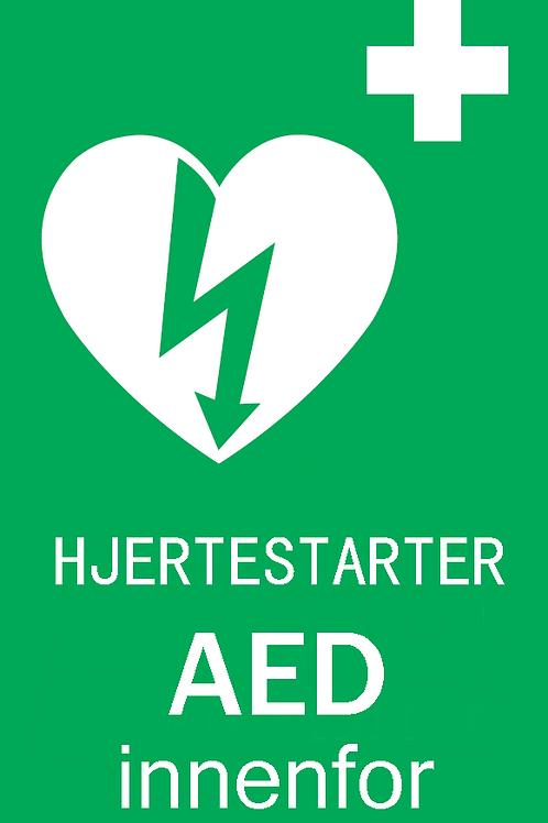 Dør-skilt hjertestarter 7,5 x 10 cm