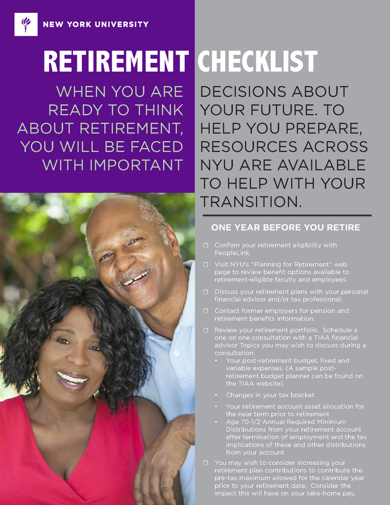 NYU Retirement Checklist-Front