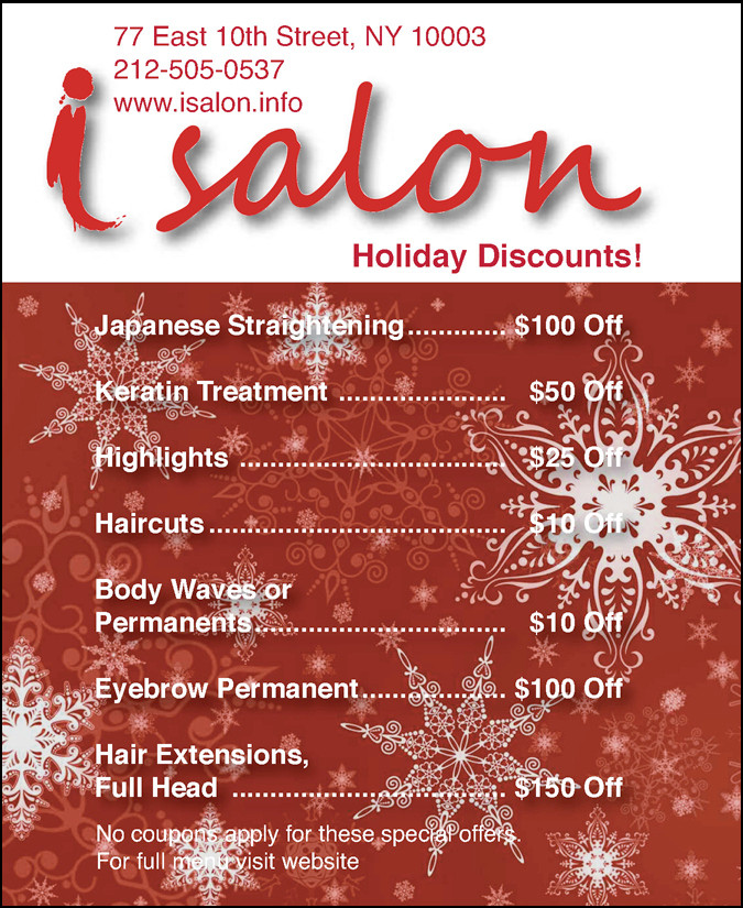Postcard for iSalon Holiday Promo