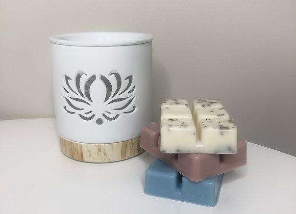 Tealight wax burner starter kit - lotus design
