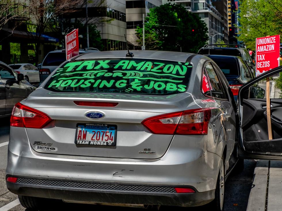 Tax Amazon Protest Car