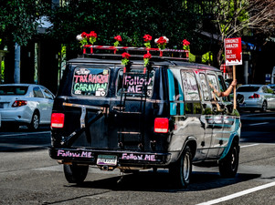 Protest Van, May Day at Amazon