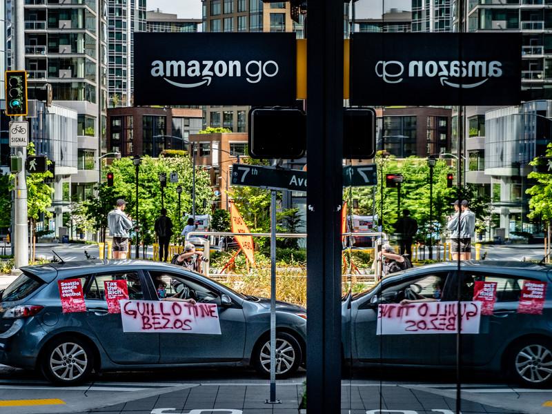 Guillotine Bezoz Anti-Amazon Protest