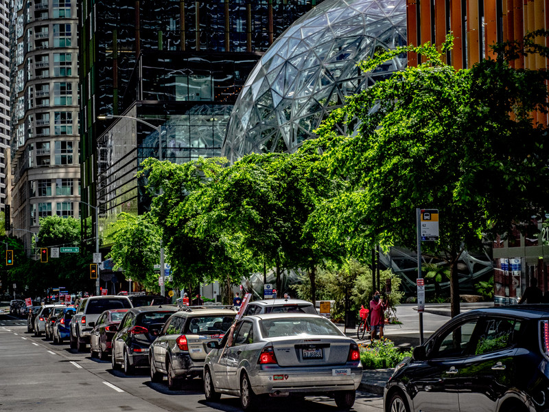 Cars Circling the Seattle Spheres