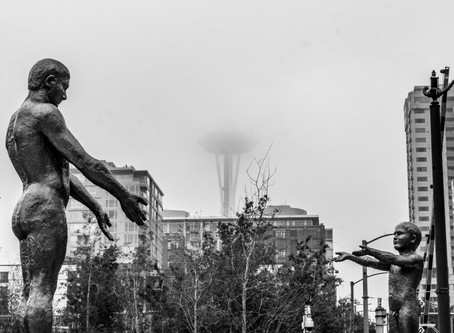 The Space Needle and Smith Tower in the Smoke