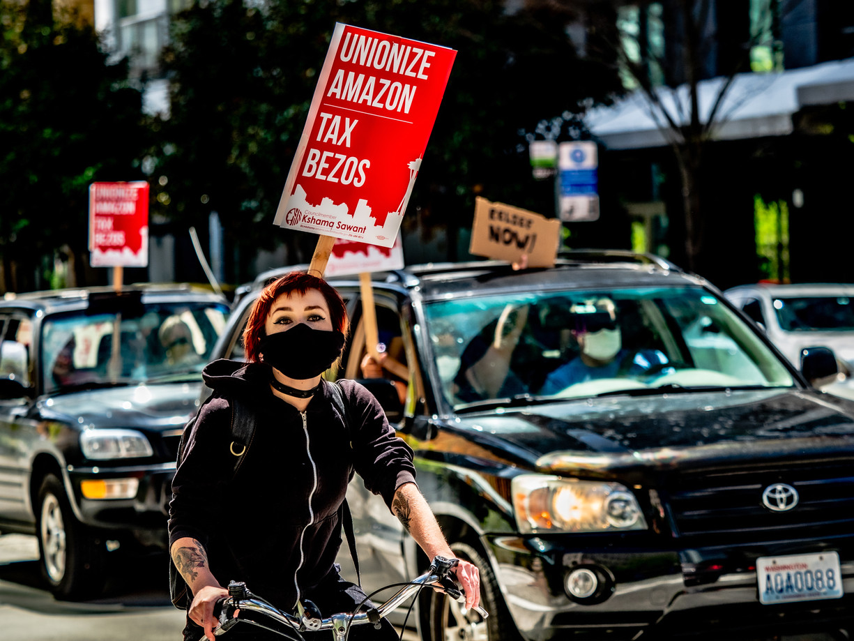 Protest Bicyclist with Mask
