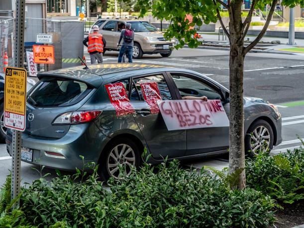 Guillotine Bezos Protest Car