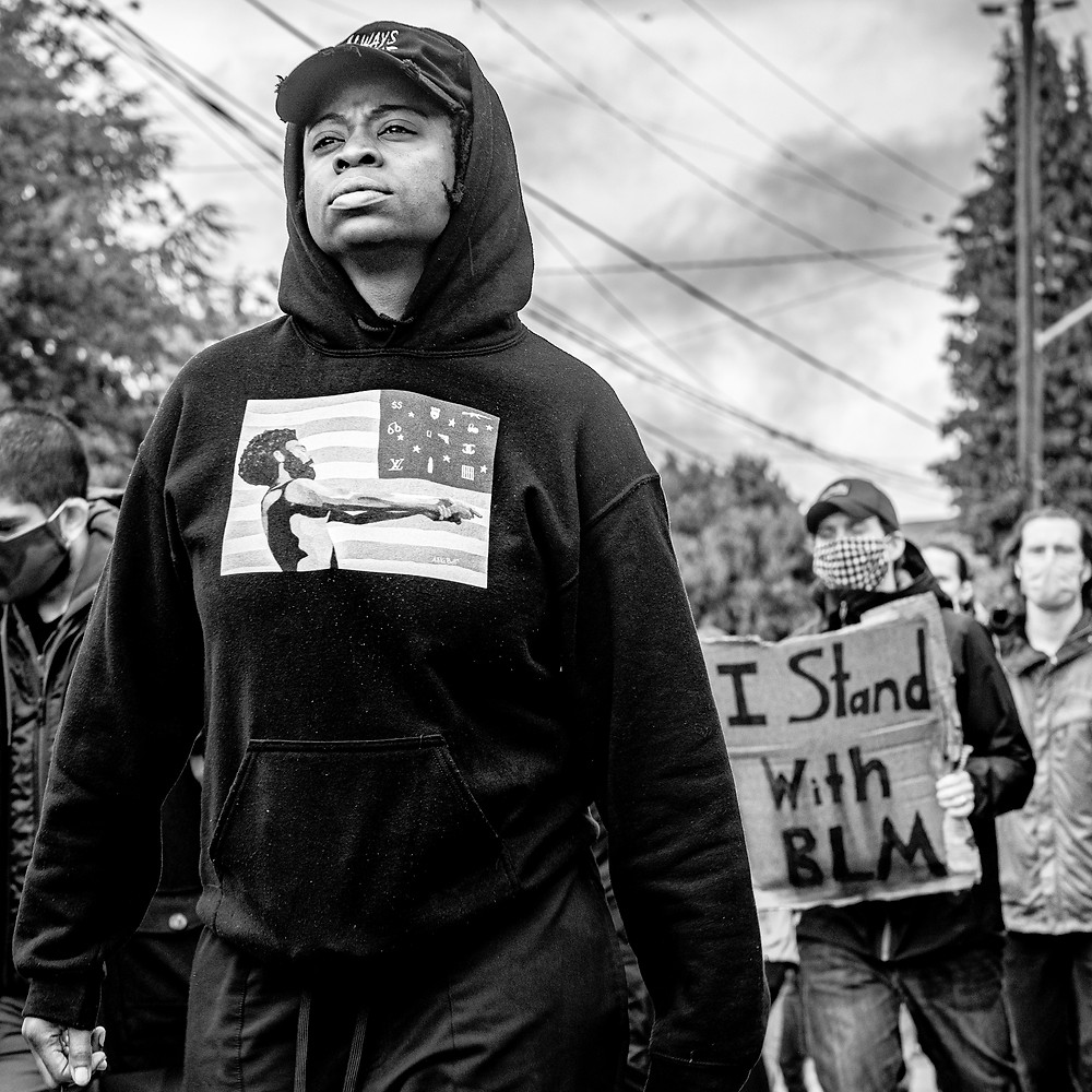 protester marching in a Black Lives Matter march in Seattle on June 12