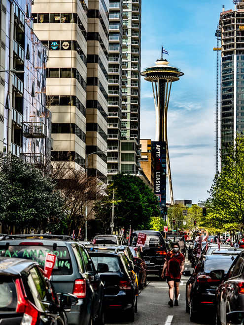 Space Needle and Anti-Amazon Protests