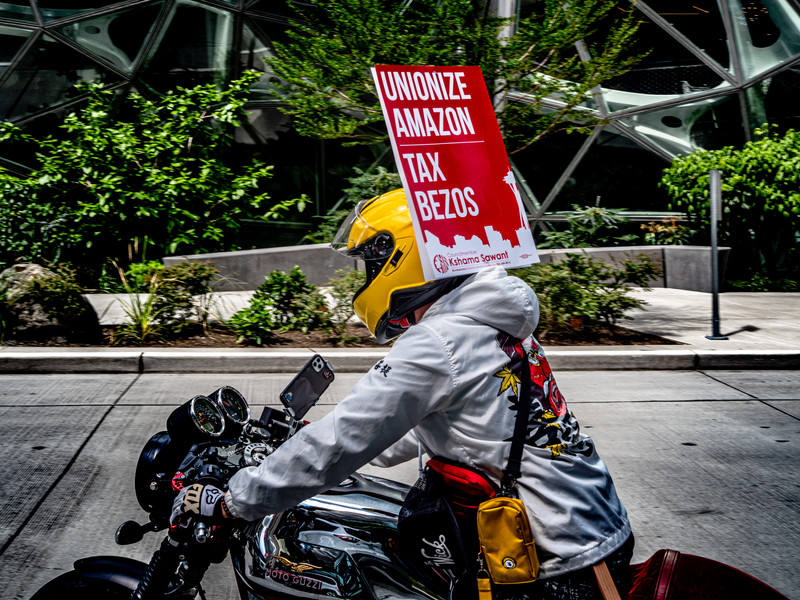 May Day Protest Biker at Amazon