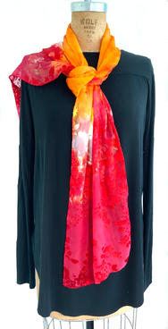 "Burn Out Orange Red Scarf 14 x 70"" Silk Rayon Hand Dyed  $100"