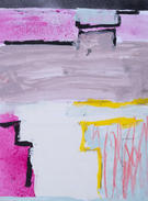 """Steps Near and Far Acrylic paint, spray paint, oil pastel, crayon on paper 9 x 12"""" $40 + tax matted, signed and sealed in a clear-slipcover"""