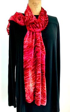 "Red Burn Out  Scarf 14 x 70"" Silk Rayon Hand Dyed  $100"