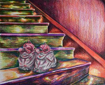 Lonely Shoes Reproduction print  11X14 Color pencils  $125