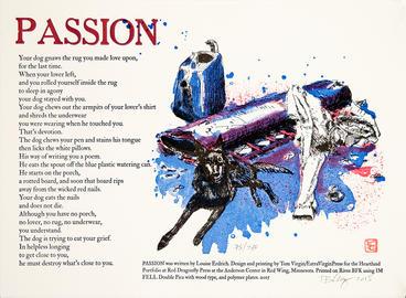 "Passion Erdrich 12 x15"" letterpress print $200"