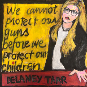"Delaney Tarr 20 x 20"" Mixed media on canvas framed with reclaimed wood $350 available as a giclee & on a variety of products"