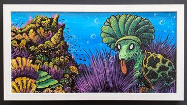 "Turtle Creature 25.75"" x 13.75"" x 1.25""_ acrylic, oil paint markers, ink on cardboard, white matte wooden frame $350"