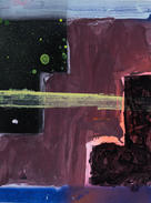 """Twilight on the Lock Acrylic paint, spray paint on paper 9 x 12"""" $40 + tax matted, signed and sealed in a clear-slipcover"""