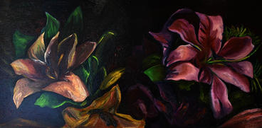 Dynamic Flowers Reproduction print  11X14  oil on canvas    $150