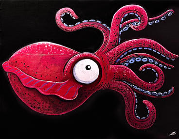 "Non-specific Cephalopod 11.375"" x 9"" x 0.125""_ acrylic oil paint markers, ink on cardboard, unframed $150"