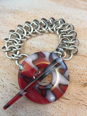 "Endless Repetition  from the  Art of the Circle series 7.5 x .50 x .25"" jewelry bracelet silver, resin toggle $775."