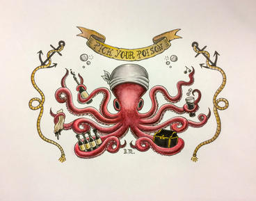 "Octopus Tattoo Design 14"" x 11"" acrylic, watercolor, ink on watercolor paper, unframed $150"