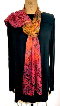 "Rust Gold Burnout Scarf 14 x 70"" Silk Rayon Hand Dyed  $100"