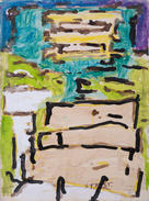 """Saint Francis Street Watercolor, walnut ink, acrylic paint on paper 9 x 12"""" $40 + tax matted, signed and sealed in a clear-slipcover"""