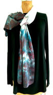 "Blended Blue White Charmeuse Scarf 14 x 70"" Silk Rayon Hand Dyed  $100"