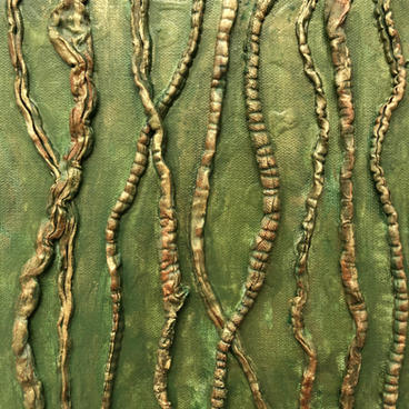 "Dancing Vines 1 12""x12"" Acrylic on canvas recycled fibers $150"