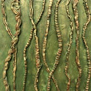 """Dancing Vines 1 12""""x12"""" Acrylic on canvas recycled fibers $150"""