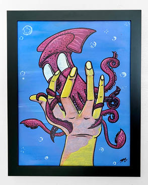 "Squid in Hand 20"" x 16"" x 1.25"" acrylic, oil paint markers, ink on artist board, black matte wooden frame $250"