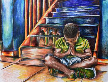 Prayers Up 11X14  Color pencils   $200