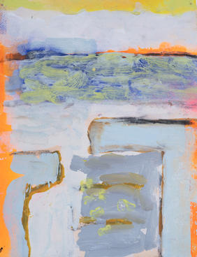 "Pale Entrance Belle Glade North Acrylic paint, spray paint, charcoal on paper 9"" x 12"" $40 + tax matted, signed and sealed in a clear-slipcover"