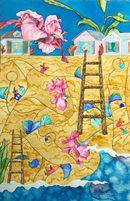 Watercolor on Paper Hibiscus Dunes 22x15 $295