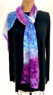 "Blue Purple Scarf Scarf 14 x 70"" Silk Rayon Hand Dyed  $100"