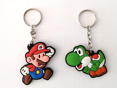 Chaveiros de borracha - Mario + Yoshi