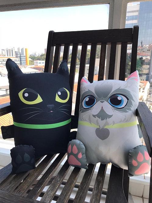 2 almofadas gatos - preto e branco