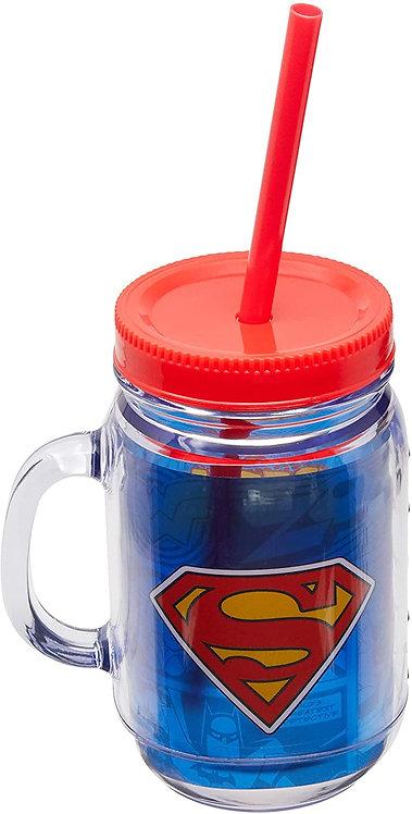 Caneca De Plástico Com Canudo Super-Homem 420ml - Super-Amigos