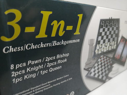 3 em 1 - Xadrez, damas e gamão