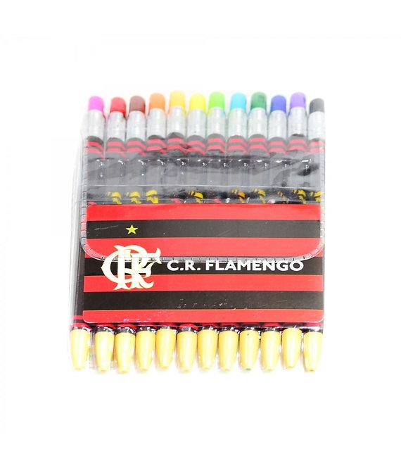 Conjunto com 12 lapiseiras coloridas do Flamengo