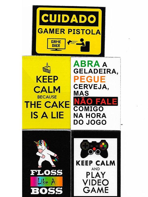 5 ímãs de geladeira Gamers
