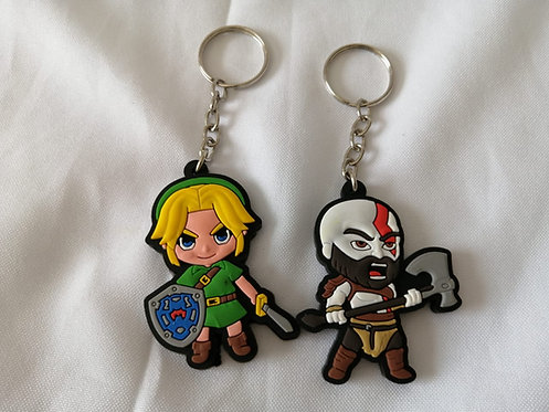 2 chaveiros cute Legend of Zelda + Kratos