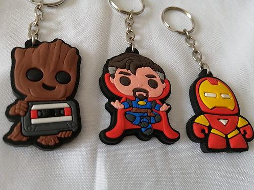 3 chaveiros cute borracha Groot + Dr. Estranho + Homem de Ferro