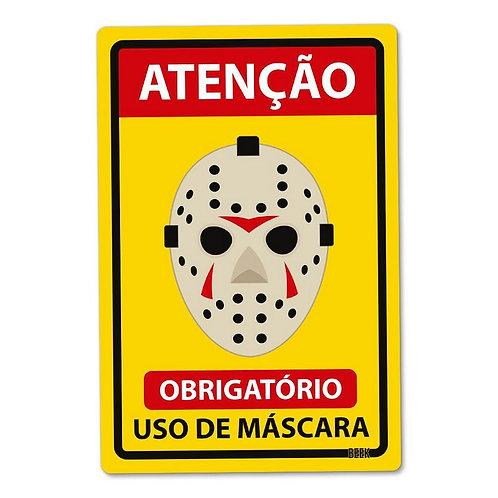 Placa decorativa PVC - Uso de máscara obrigatório - Jason